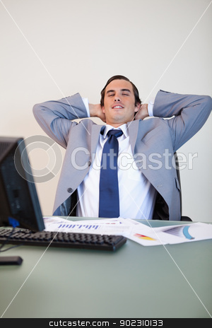 Businessman taking a small break stock photo, Businessman taking a small break in his chair by Wavebreak Media