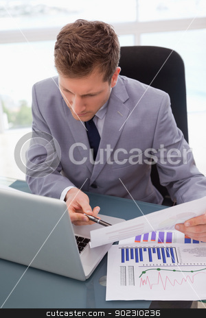 Businessman looking at his laptop stock photo, Businessman looking at his laptop while working on statistics by Wavebreak Media