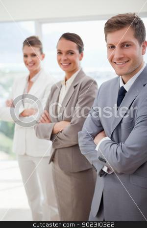 Business team introducing itself stock photo, Standing business team introducing itself by Wavebreak Media