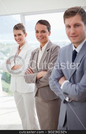 Office team introducing itself stock photo, Standing office team introducing itself by Wavebreak Media