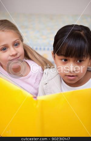 Portrait of schoolgirls reading stock photo, Portrait of schoolgirls reading in a classroom by Wavebreak Media