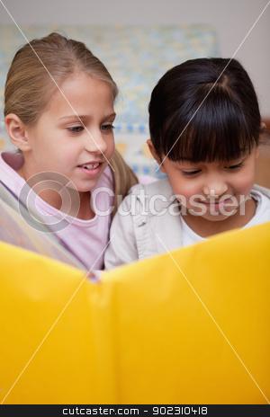 Portrait of cute schoolgirls reading stock photo, Portrait of cute schoolgirls reading in a classroom by Wavebreak Media