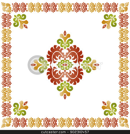 eastern style composition stock vector clipart, eastern style composition (Turkish work border) by Sevgi Dal
