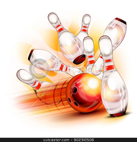 Bowling ball crashing into the shiny pins stock vector clipart, A red bowling ball crashing into the shiny pins by Laurent Renault