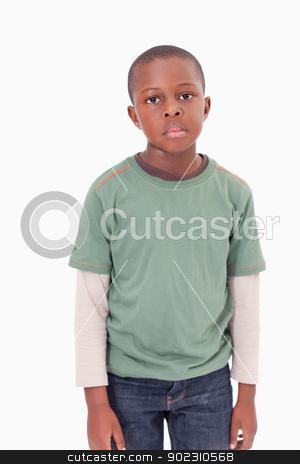 Portrait of boy posing stock photo, Portrait of boy posing against a white background by Wavebreak Media