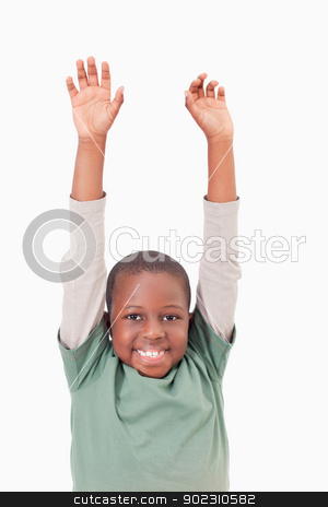 Portrait of a boy raising his arms stock photo, Portrait of a boy raising his arms against a white background by Wavebreak Media