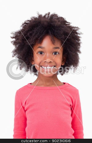 Portrait of a cute girl smiling stock photo, Portrait of a cute girl smiling against a white background by Wavebreak Media