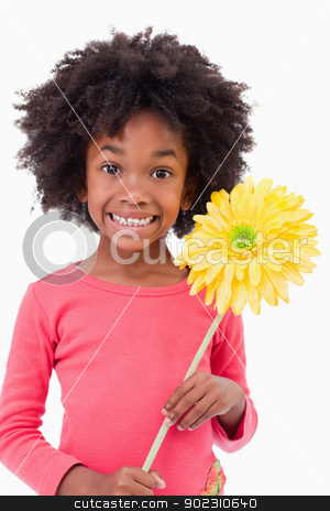 Portrait of a smiling girl holding a flower stock photo, Portrait of a smiling girl holding a flower against a white background by Wavebreak Media
