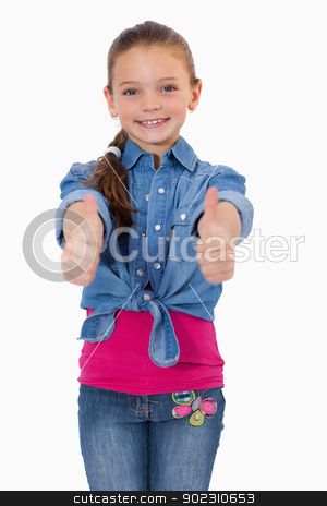 Portrait of a girl with the thumbs up stock photo, Portrait of a girl with the thumbs up against a white background by Wavebreak Media