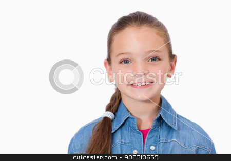 Happy girl smiling stock photo, Happy girl smiling against a white background by Wavebreak Media