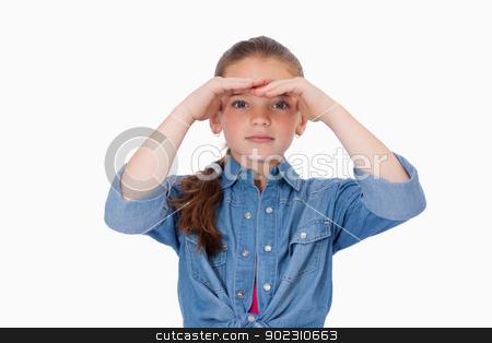 Girl looking ahead stock photo, Girl looking ahead against a white background by Wavebreak Media