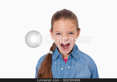 Unhappy girl screaming stock photo, Unhappy girl screaming against a white background by Wavebreak Media
