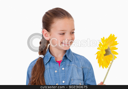 Girl looking at a flower stock photo, Girl looking at a flower against a white background by Wavebreak Media