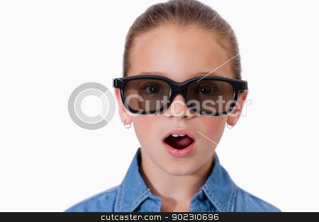 Surprised girl wearing sunglasses stock photo, Surprised girl wearing sunglasses against a white background by Wavebreak Media