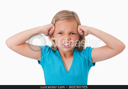 Unhappy girl with the fists on her face stock photo, Unhappy girl with the fists on her face against a white background by Wavebreak Media
