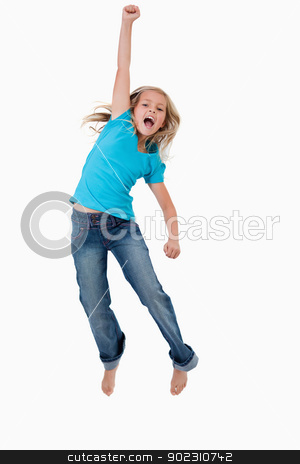 Portrait of a cheerful girl jumping stock photo, Portrait of a cheerful girl jumping against a white background by Wavebreak Media