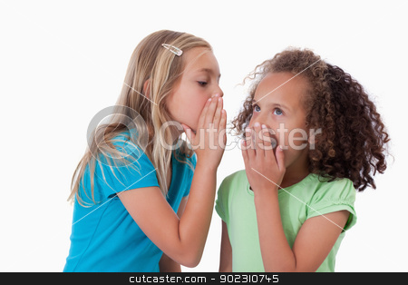 Young girl whispering a secret to her friend stock photo, Young girl whispering a secret to her friend against a white background by Wavebreak Media