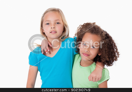 Young friends posing stock photo, Young friends posing against a white background by Wavebreak Media