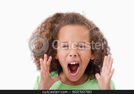Angry girl screaming stock photo, Angry girl screaming against a white background by Wavebreak Media