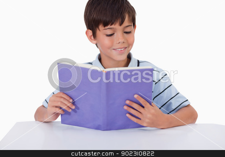 Smiling boy reading a book stock photo, Smiling boy reading a book against a tablet computer by Wavebreak Media