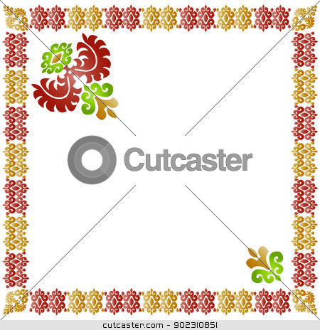 eastern style composition_01 stock vector clipart, eastern style composition (embroidery) by Sevgi Dal