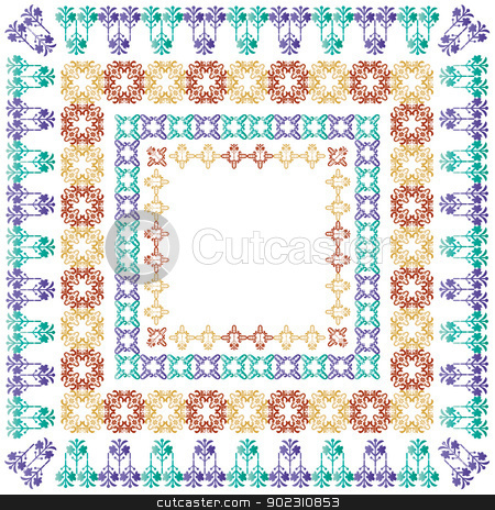 elegant border set_01 stock vector clipart, elegant border set (ottoman style) by Sevgi Dal