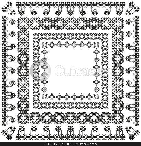 elegant border set_03 stock vector clipart, elegant border set (ottoman style) by Sevgi Dal
