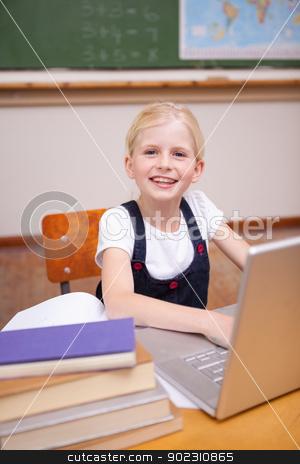 Portrait of a little girl using a notebook stock photo, Portrait of a little girl using a notebook in a classroom by Wavebreak Media