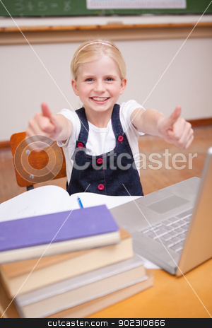 Portrait of a girl using a notebook with the thumbs up stock photo, Portrait of a girl using a notebook with the thumbs up in a classroom by Wavebreak Media