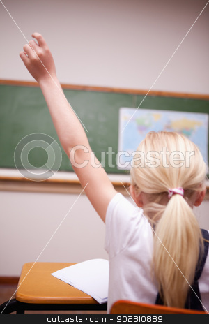 back view of a schoolgirl raising her hand stock photo, back view of a schoolgirl raising her hand in a classroom by Wavebreak Media