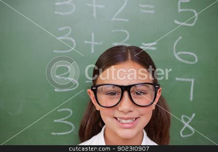 Smart schoolgirl posing stock photo, Smart schoolgirl posing in front of a blackboard by Wavebreak Media