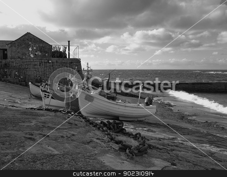 Sennen Cove Cornwall stock photo, Boats drawn up on the slipway in winter at Sennen Cove near Land's End in Cornwall by Maurice Snell