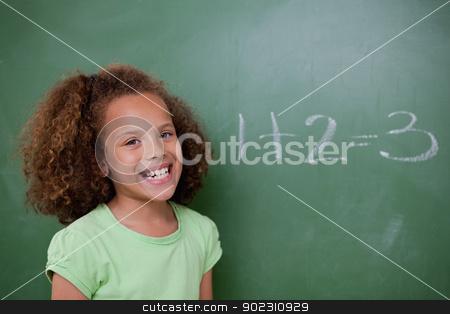 Schoolgirl posing in front of an addition stock photo, Schoolgirl posing in front of an addition on a blackboard by Wavebreak Media
