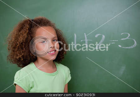Cute schoolgirl posing in front of an addition stock photo, Cute schoolgirl posing in front of an addition in a classroom by Wavebreak Media