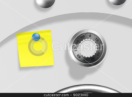 a safe with a remember stock photo, a front view of a portion of a door of a safe with a yellow empty remember applied on it next to the combination knob ready to be written by Francesco De Paoli