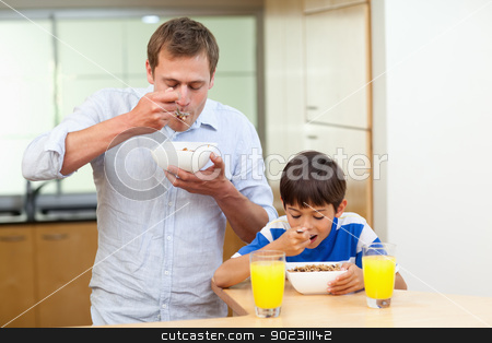 Father and son having cereals stock photo, Father and son having cereals together by Wavebreak Media