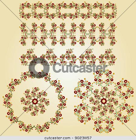 vintage border stock vector clipart, vintage border (brown spots) by Sevgi Dal