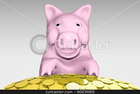 pink piggy is smiling over a pile of coins stock photo, a close up of a smiling pink piggy bank with its front paws that are resting on top of a pile of golden coins by Francesco De Paoli