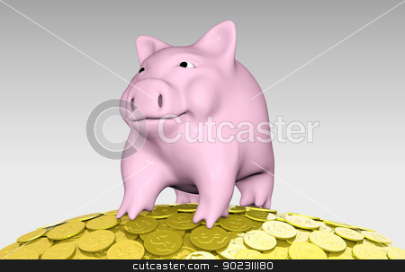 pink piggy on a pile of coins stock photo, a close up of a pink piggy bank that is on top of a pile of golden coins with a confident expression for something that stands in front of him by Francesco De Paoli