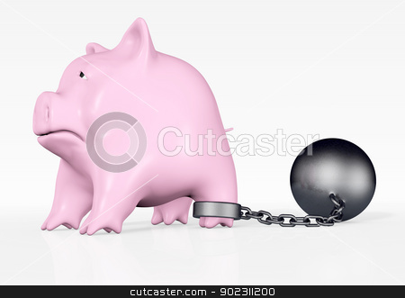 pink piggy with ball and chain stock photo, a pink piggy bank with a sad expression and a ball and chain tied to his rear paw stands in front of a white background by Francesco De Paoli