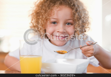 Smiling girl having breakfast in the kitchen stock photo, Smiling young girl having breakfast in the kitchen by Wavebreak Media