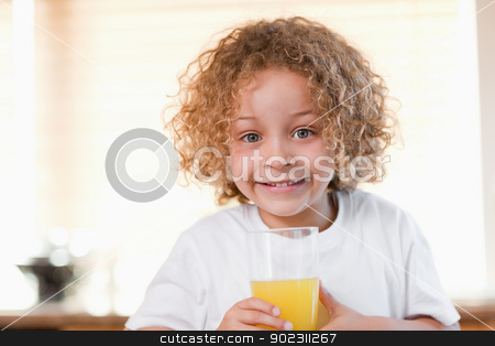 Girl with a glass of orange juice in the kitchen stock photo, Young girl with a glass of orange juice in the kitchen by Wavebreak Media
