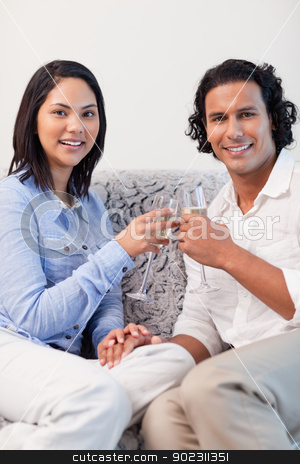 Couple drinking sparkling wine on the couch stock photo, Young couple drinking sparkling wine on the couch by Wavebreak Media
