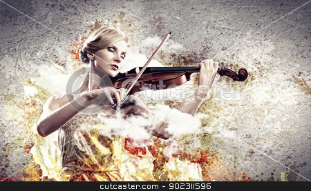 Gorgeous woman playing on violin stock photo, Image of beautiful female violinist playing with closed eyes against splashes background by Sergey Nivens