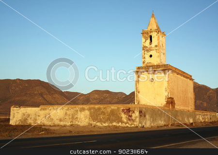 Abandoned church stock photo, Church of La Fabriquilla in Cabo de Gata, province of Almeria, Andalusia, Spain by Brigida Soriano