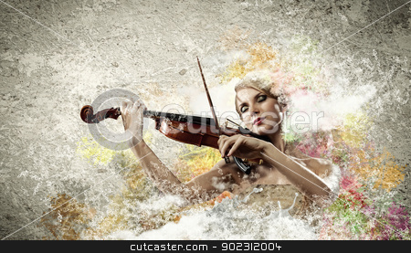 Gorgeous woman playing on violin stock photo, Image of beautiful female violinist playing with closed eyes against colorful background by Sergey Nivens