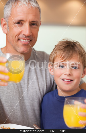 Close up of a boy and his father having breakfast stock photo, Close up of a boy and his father having breakfast in a kitchen by Wavebreak Media