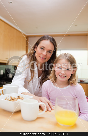 Portrait of a happy mother and her daughter having breakfast stock photo, Portrait of a happy mother and her daughter having breakfast in a kitchen by Wavebreak Media