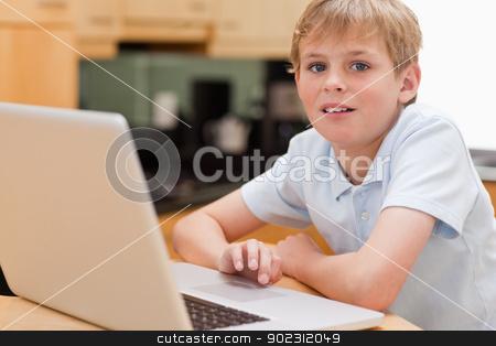 Lovely boy using a notebook stock photo, Lovely boy using a notebook in a kitchen by Wavebreak Media