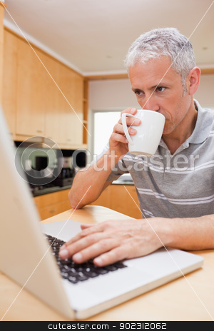 Portrait of a man using a laptop while drinking coffee stock photo, Portrait of a man using a laptop while drinking coffee in a kitchen by Wavebreak Media